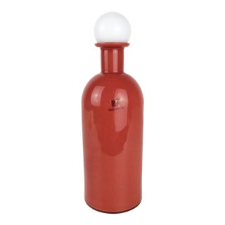 Vintage Italian Mid-Century Design Murano Glass Red and White Decanter by Carlo Moretti For Sale