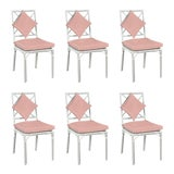 Image of Haven Outdoor Dining Chair, Canvas Blush with Canvas White Welt, Set of 6 For Sale