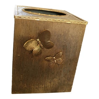 20th Century Gold Plated Butterfly Tissue Box For Sale