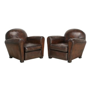 1920s French Leather Club Chairs Completely Restored For Sale