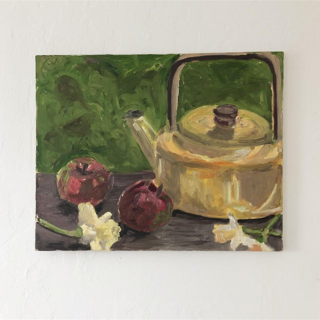 Original Still Life With Tea Kettle, Apples and Flowers For Sale - Image 4 of 4