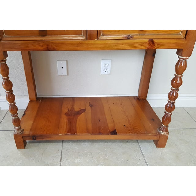 Rustic Style Pine China Hutch Sideboard With Spindles - 2 Pieces For Sale - Image 10 of 12