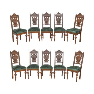 Italian Renaissance Style Antique 19th Century Carved Walnut Dining Chairs - Set of 10