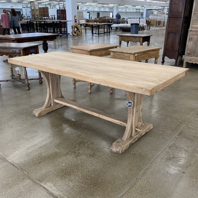 French Bleached Walnut Trestle Table For Sale - Image 13 of 13