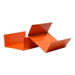 Reclaimed 1960s Aluminum Paper Tray or Desktop Organizer Refinished in Orange For Sale