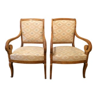 Charles X Burled Walnut Side Chairs - A Pair For Sale