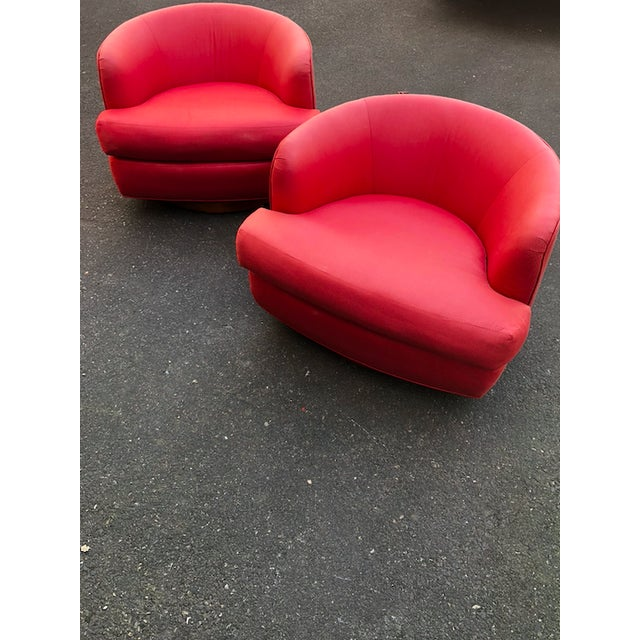 Vintage Milo Baughman Style Custom Swivel Chairs in Original Coral Fabric - a Pair For Sale In Portland, OR - Image 6 of 11