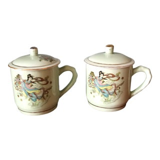 Green Chinoiserie Bamboo Handle Tea Cups