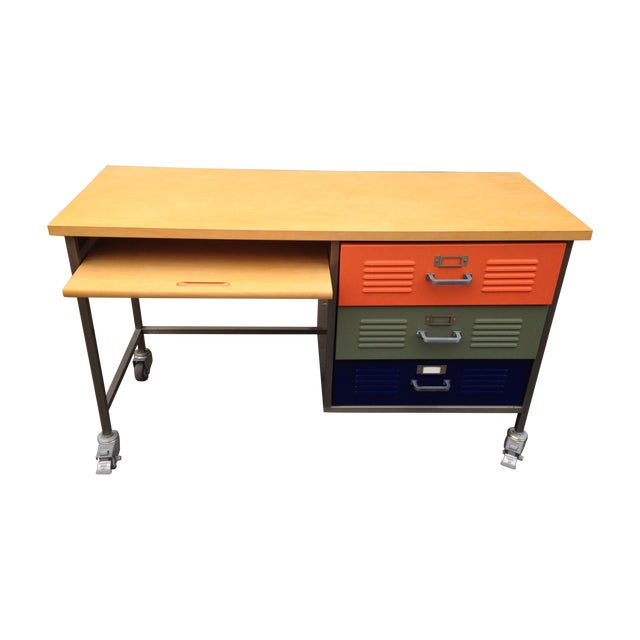 Pottery Barn Locker Desk Chairish - Pottery barn art table