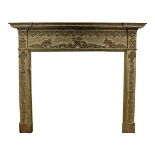 Antique Carved French Country Fireplace Mantel For Sale