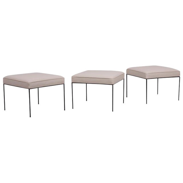 Set of Three Paul McCobb Wrought Iron Stools For Sale
