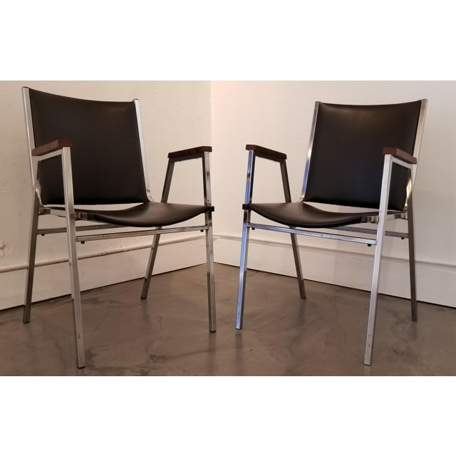 Industrial Chrome Industrial Modern Arm Chairs - a Pair For Sale - Image 3 of 12