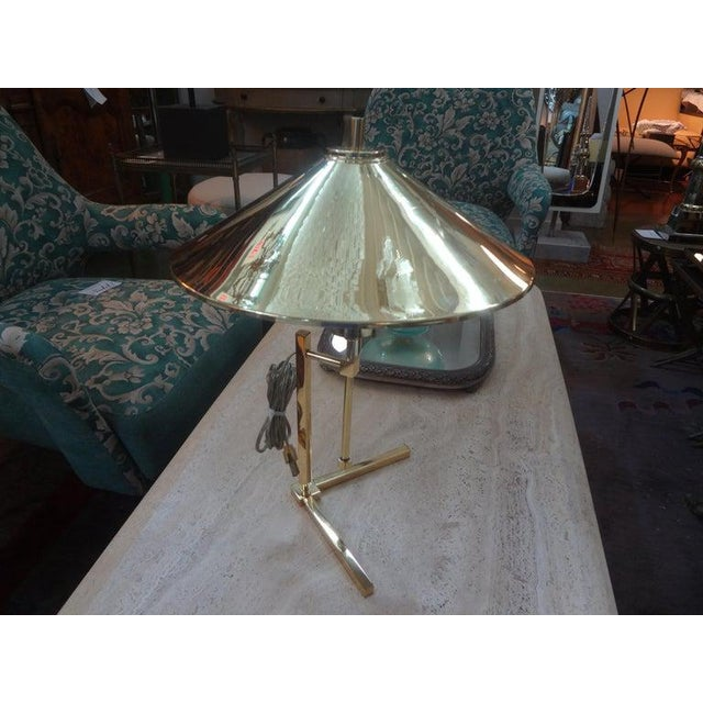 Vintage Polished Brass Lamp With Brass Shade For Sale - Image 12 of 13
