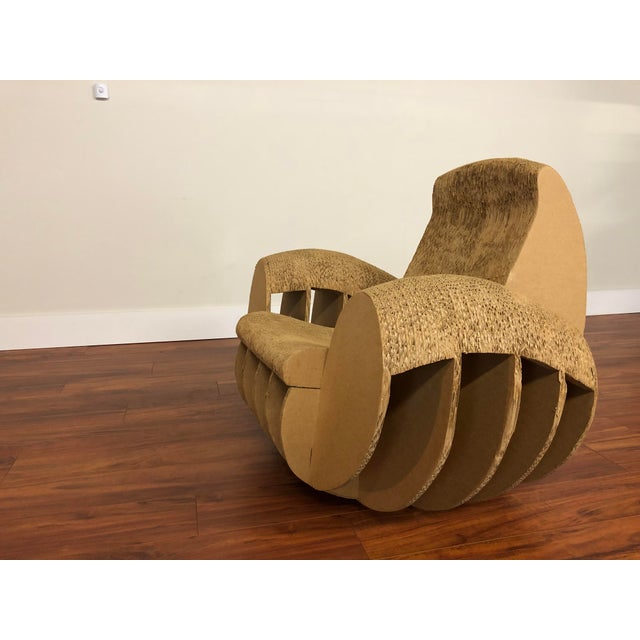 Brown Rocking Lounge Chair Made Entirely of Cardboard For Sale - Image 8 of 13