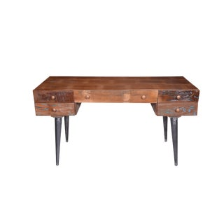 Rustic Recycle Wood Writing Desk With Drawers