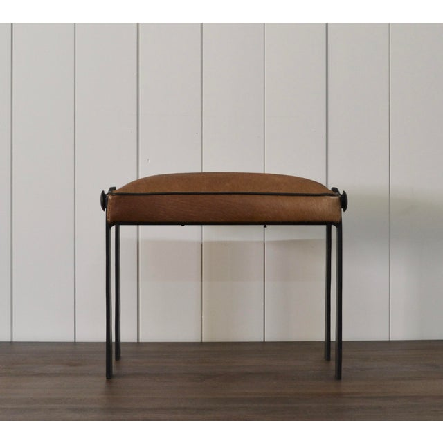 Brown Modernist Iron and Leather Hair on Hide Stool For Sale - Image 8 of 8