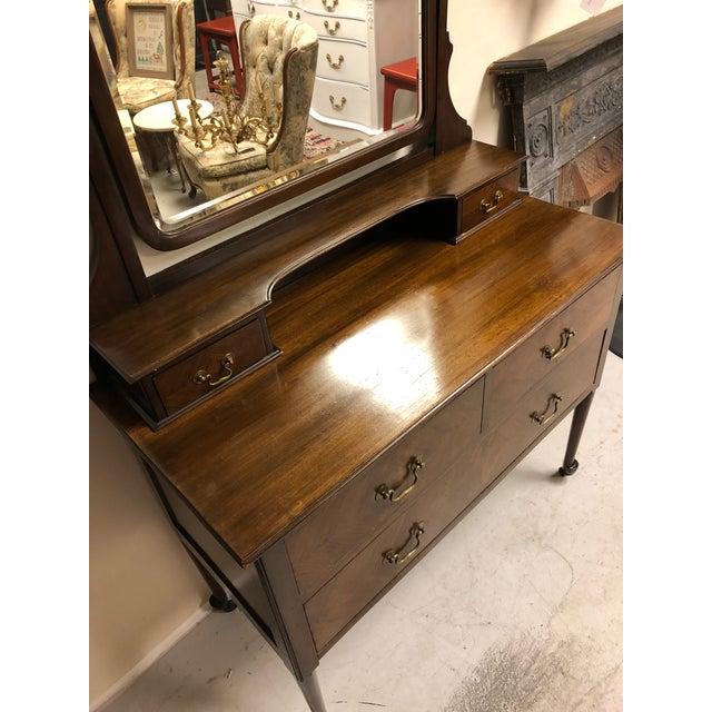 19th Century English Mahogany Mirrored Vanity For Sale - Image 4 of 7