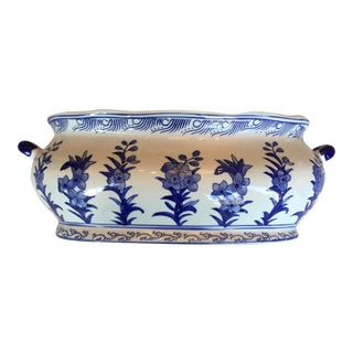 Blue & White Chinese Oval Porcelain Planter