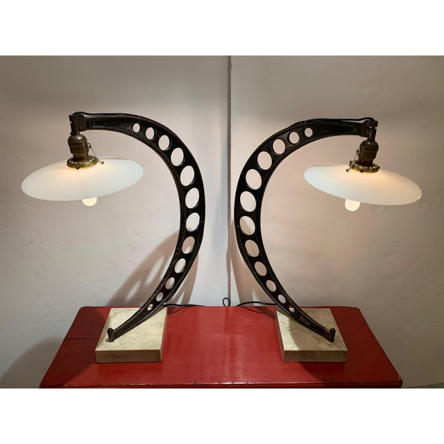 19th Century Crescent Shaped Micrometer Custom Lamps -A Pair For Sale - Image 13 of 13