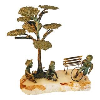 Vintage Mario Jason Brutalist Organic Bronze Children Park Tree Signed Sculpture For Sale