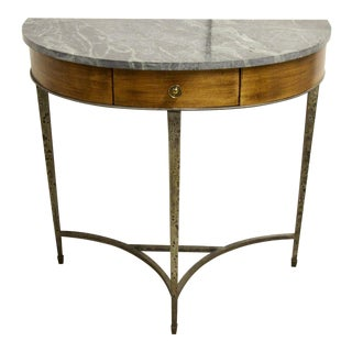 Green Marble Top Demilune Console Table For Sale