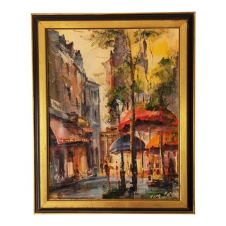 60's Vintage French Cityscape Oil Painting . For Sale