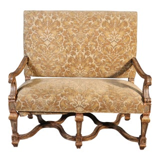 French Louis XVI Style Gilded Paint Decorated Settee 1 of 2 Available For Sale