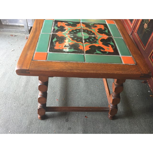 1930s Calfornia Catalina Tile Top Table Mission For Sale - Image 5 of 8