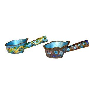 Pair of 19th C Chinese Enameled Ladles For Sale