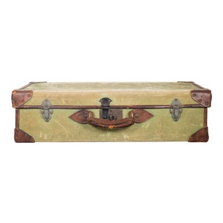 Leather/Canvas English Suitcase C.1944 For Sale