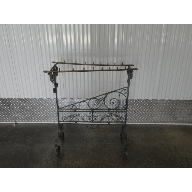 19th century French faux bamboo brass and wrought iron blanket stand sold as found in vintage condition without damage....