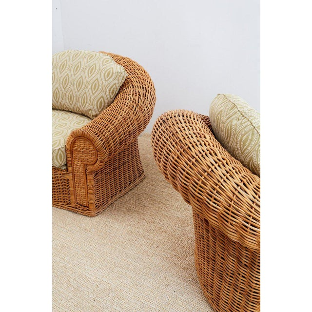 Michael Taylor Style Wicker Lounge Chairs and Ottomans For Sale - Image 11 of 13