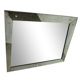 Mid Century Hollywood Regency Trapezoid Mirror With Etching For Sale