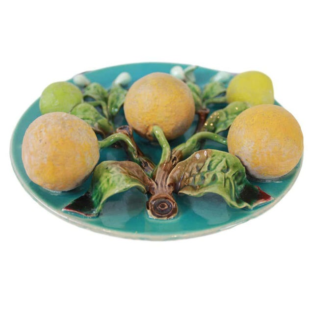 Ceramic Menton French Majolica Wall Plaque on a Turquoise Ground With Oranges, Ca. 1880 For Sale - Image 7 of 10