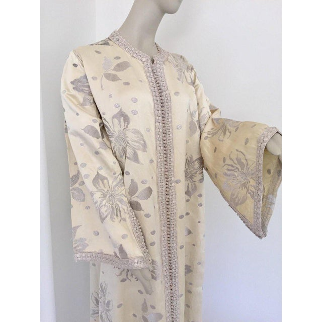 Elegant Moroccan Caftan With Silver Metallic Floral Silk Brocade For Sale - Image 12 of 13