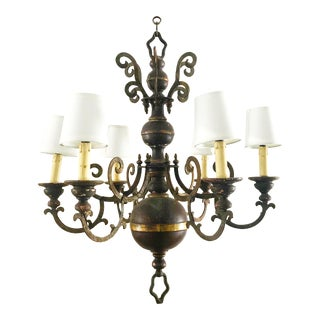 French Dark Burgundy Gold and Black Wrought Iron and Metal Chandelier For Sale