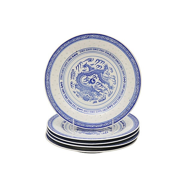 """Mid 20th Century Chinese """"Blue Rice"""" Dragon Plates For Sale - Image 5 of 5"""