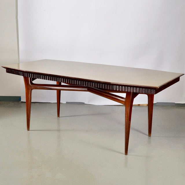 Mid-Century Italian Dining Table With Green Glass Top and Fluted Edge For Sale - Image 11 of 11
