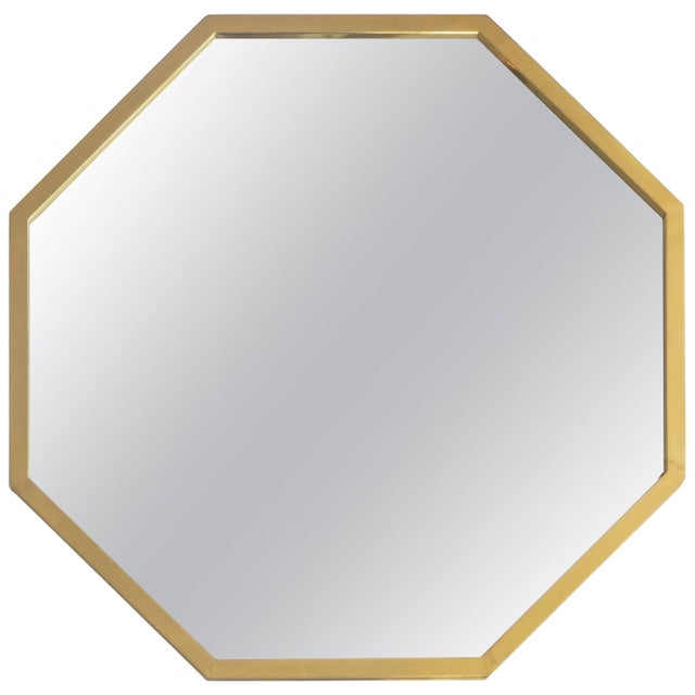 Metal Italian Octagonal Brass Framed Mirror For Sale - Image 7 of 7