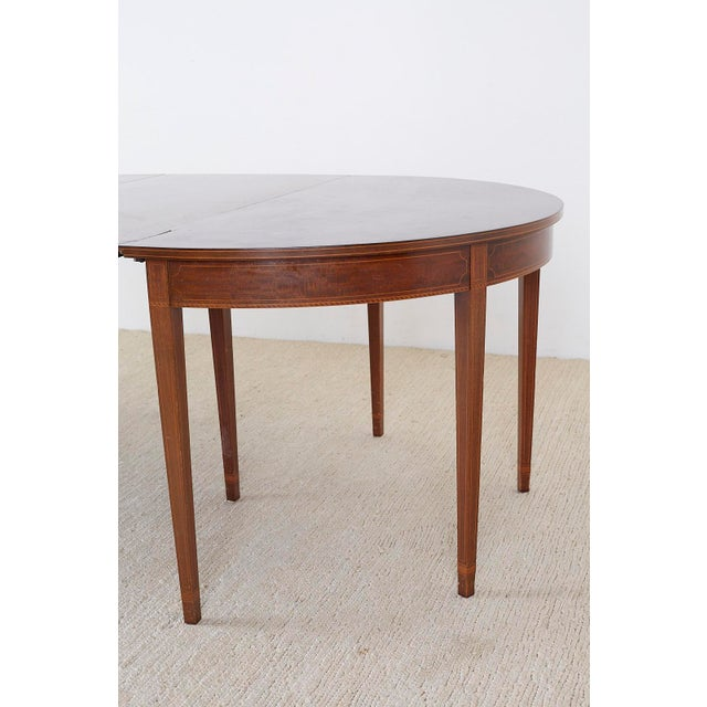 American Hepplewhite Style Demilune Console Tables - a Pair For Sale - Image 10 of 13