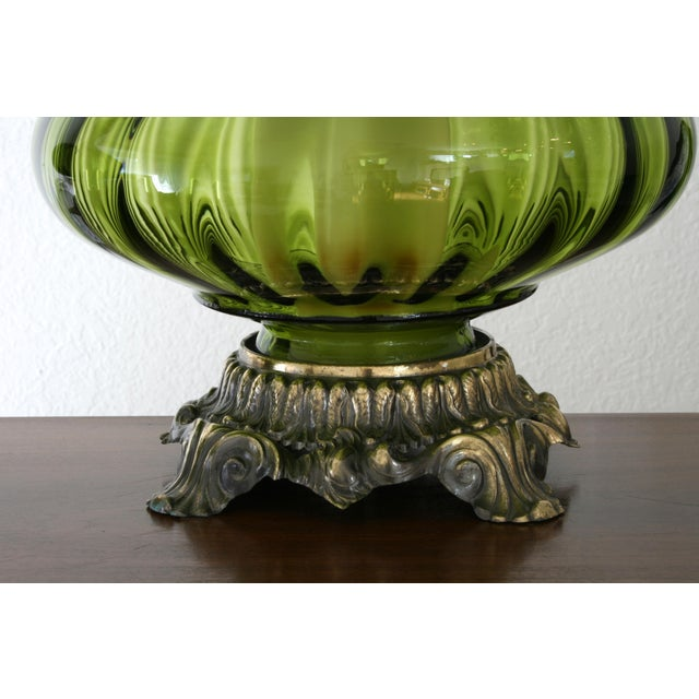 Vintage Green Glass Nightlight Table Lamps - a Pair For Sale In Seattle - Image 6 of 7