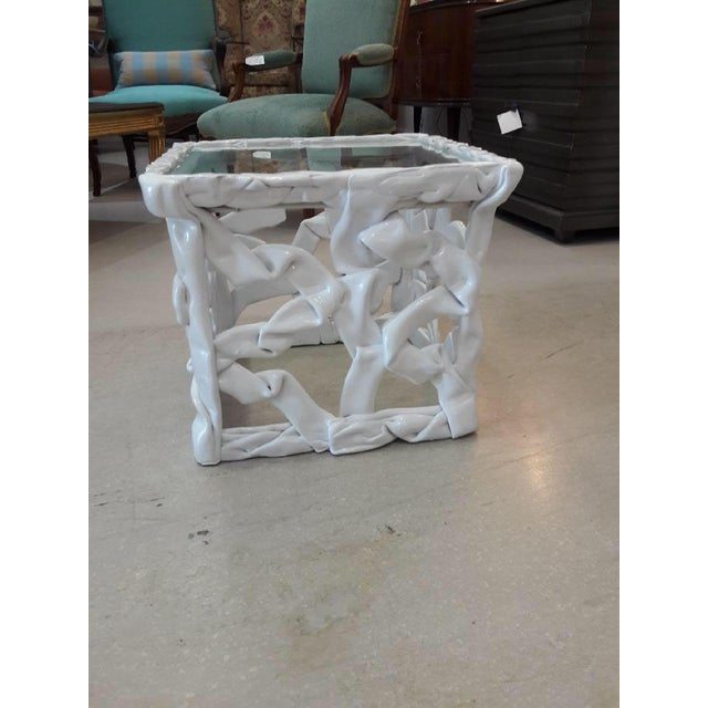1970s Abstract White Taffy Resin Cube Table For Sale - Image 9 of 9