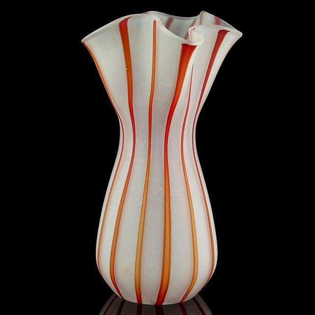 Abstract Vintage White Red Orange Stripes Satin Surface Italian Art Glass Flower Vase For Sale - Image 3 of 7