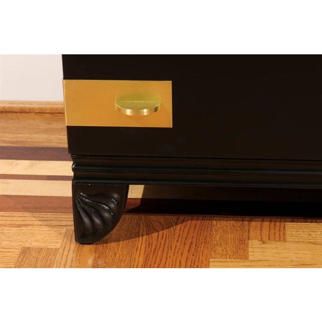 Black Gorgeous Restored Three-Drawer Chest by Widdicomb in Black Lacquer For Sale - Image 8 of 11