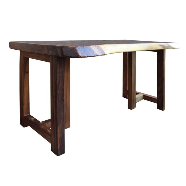 Raw Wood Rectangular Plank Table / Desk For Sale - Image 4 of 7