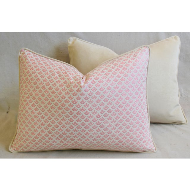 """Italian Mariano Fortuny Pink Canestrelli & Velvet Feather/Down Pillows 24"""" X 18"""" - Pair For Sale - Image 10 of 13"""