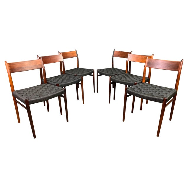 Set of Six Vintage Mid Century Danish Modern Rosewood Dining Chairs Model #418 by Arne Vodder for Sibast For Sale