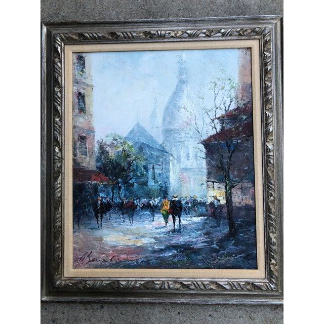 Black Original Impressionist Mid Century Painting of Venice Framed For Sale - Image 8 of 8