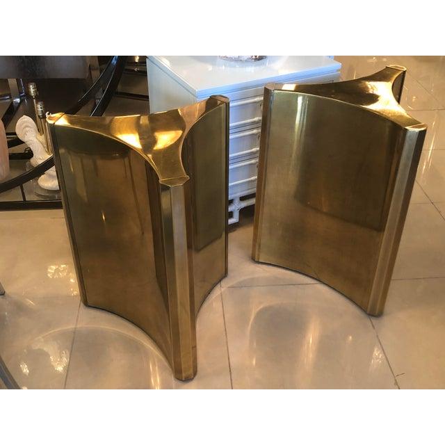 Gold Vintage Brass Pedestal Mastercraft Dining Table or Desk Base -A Pair For Sale - Image 8 of 11