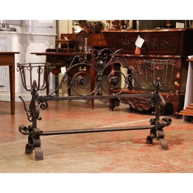 French Important 18th Century French Gothic Wrought Iron Fireplace Screen With Landiers For Sale - Image 3 of 9